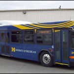 University of Michigan began using its first diesel-electric hybrid bus this week