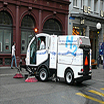 The hydrogen powered cleaning vehicle in operation on the streets of Basel - Germany
